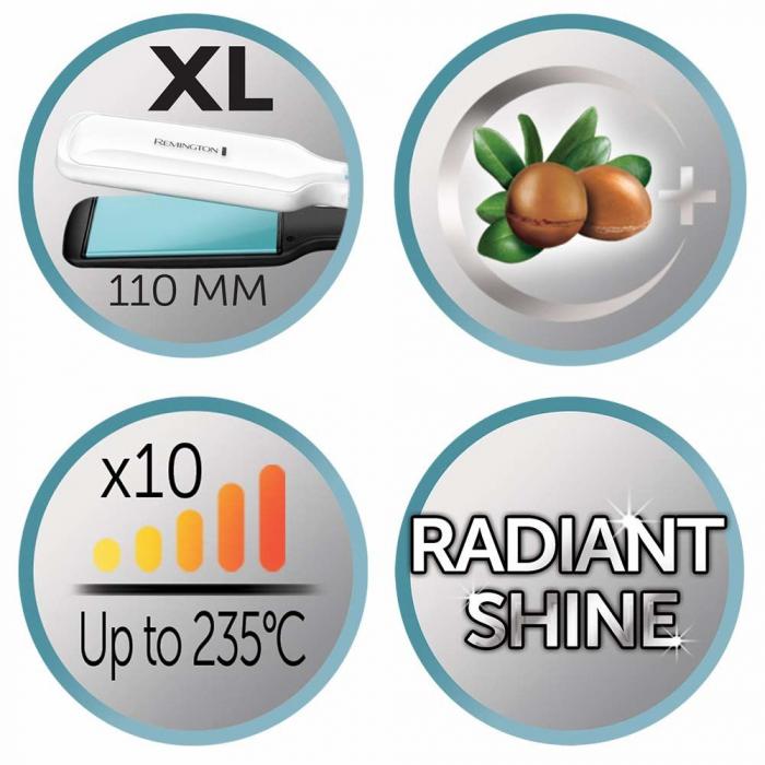 Placa de indreptat parul Remington Shine Therapy S8550, Placi late, Invelis ceramic cu Ulei de Argan si Vitamina E, 150-235ºC, Alb 3