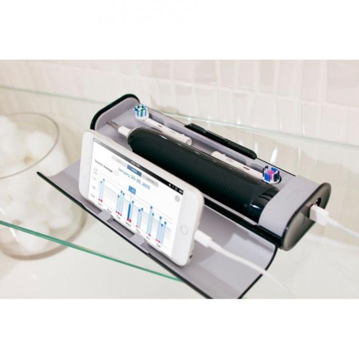 Periuta de dinti electrica Oral-B Genius 9000, SmartRing, 6 programe, 4 capete, Conectivitate Bluetooth, Trusa de calatorie cu suport pentru smartphone, Negru 5