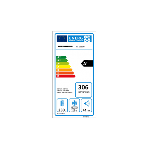 Combina frigorifica Heinner HC-V336A+, 336 l, Clasa A+, Tehnologie Less Frost, H 186 cm, Alb 7