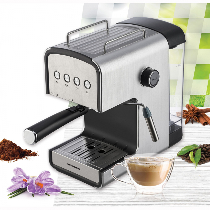 Espressor semi-automat Heinner HEM-B2012SA, 20 bar, 850W, rezervor apa detasabil 1.2l, optiuni presetate pentru espresso lung/scurt, filtru din inox, plita pentru mentinere cafea calda, decoratii inox 3