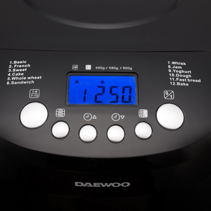 Masina de paine Daewoo DBM600B, 600 W, 900 g, 2 nivele de rumenire, 12 programe, Timer, Negru 2
