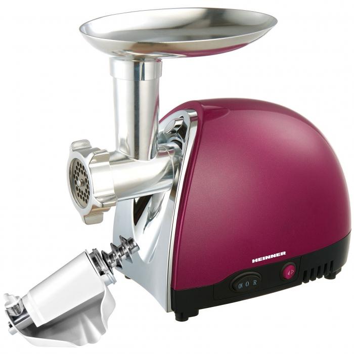 Masina de tocat Heinner MG1500TA-BG, 1600 W, Accesoriu pentru rosii si carnati, Cutit inox, Visiniu sidefat 1