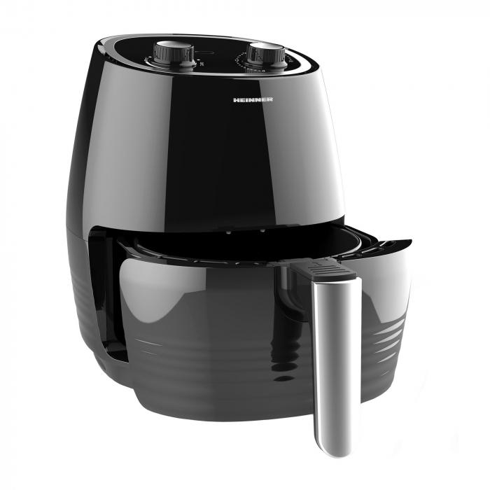 Friteuza cu aer cald Heinner HAF-1250BK, 1250 W, 2.5 L, vas antiaderent, timer 30 min, Negru 1