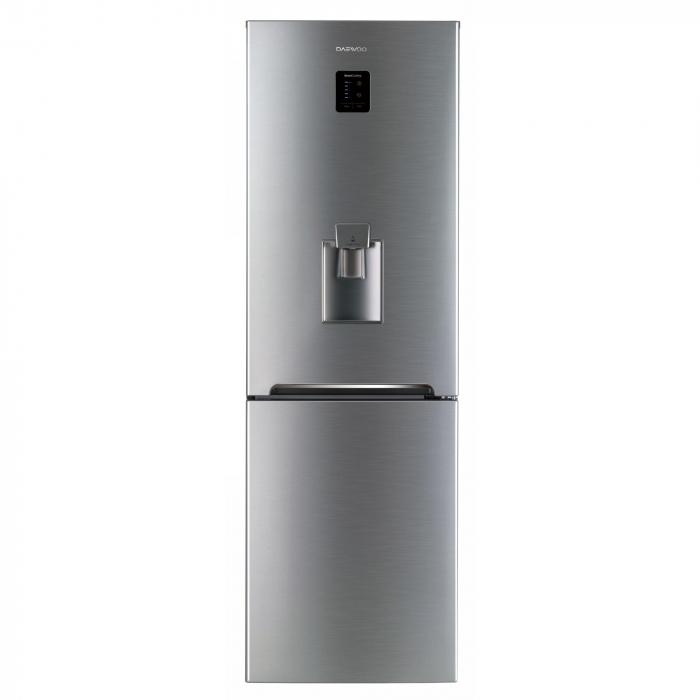 Combina frigorifica Daewoo RN-307RDQM, 305 l, Clasa A+, No Frost, Display, Dispenser apa, H 187 cm, Silver