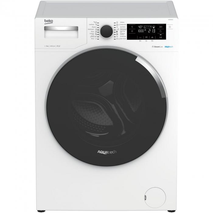 Masina de spalat rufe Beko WTE9744N, 9 kg, 1400 RPM, Clasa A+++, AquaTech SteamCure , ADDGarment, Motor ProSmart Inverter, Alb [0]