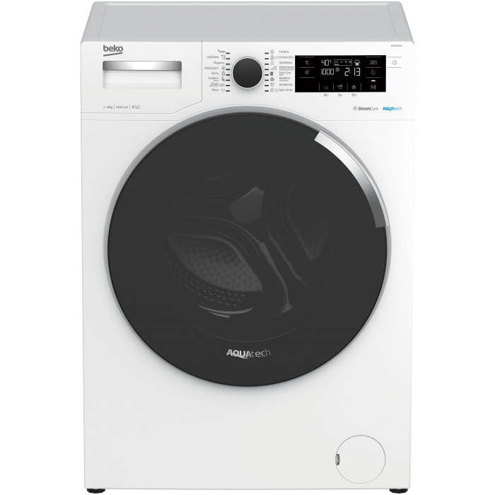 Masina de spalat rufe Beko WTE9744N, 9 kg, 1400 RPM, Clasa A+++, AquaTech SteamCure , ADDGarment, Motor ProSmart Inverter, Alb 0