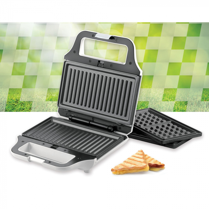 Sandwich maker Heinner SM-2H700WH, 700 W, 2 placi detasabile antiadezive: waffle, grill, Alb 3