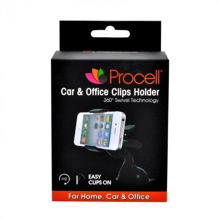 Suport auto Procell Clips 360 pentru telefoane si tablete, Negru 0