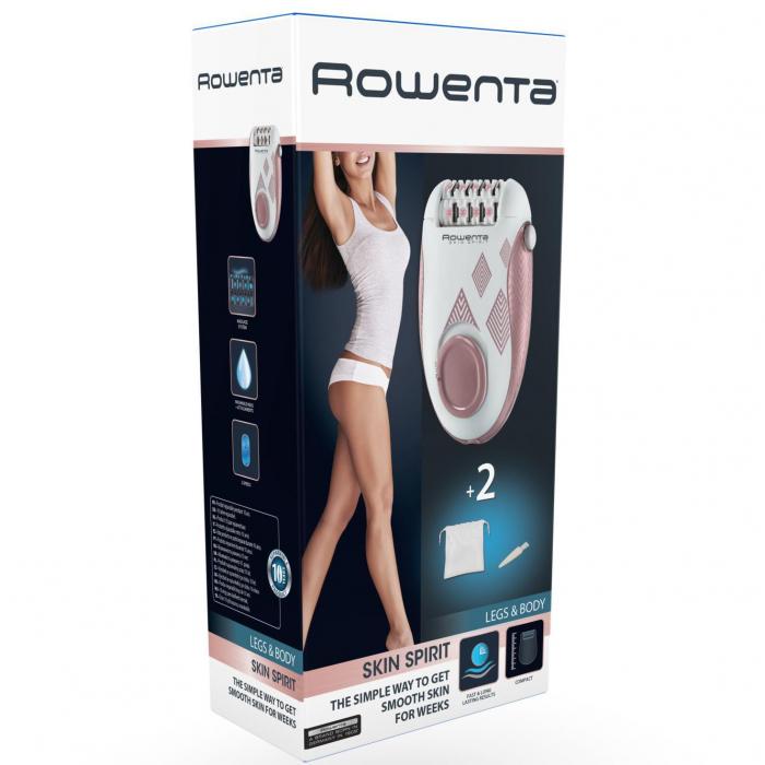 Epilator Rowenta Skin Spirit EP2900F0, 24 pensete, 2 reglaje de viteza, 2 accesorii, zone compatibile picioare si corp, Roz 1