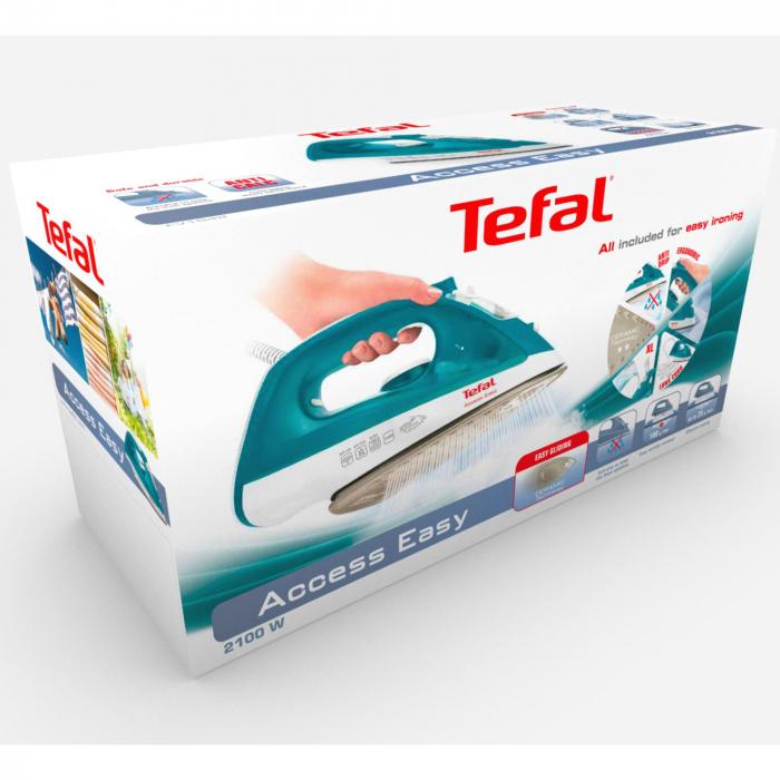 Fier de calcat Tefal FV1542E3 Access Easy, 2000W, Sistem anticalcar, 100g/min, 25g/min, Talpa ceramica, 0.25l, Alb/Turcoaz 2