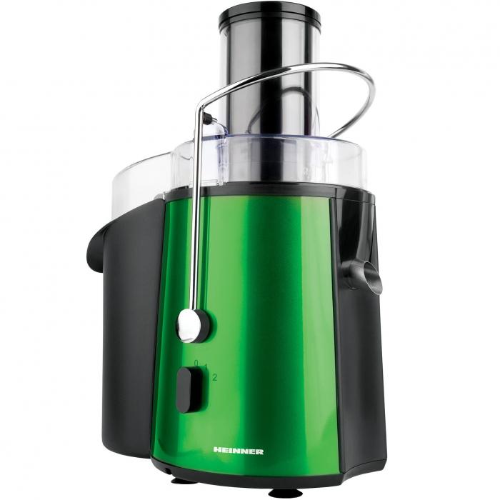 Storcator de fructe si legume Heinner XF-1000GRSP, 1000 W, Recipient suc 1 l, Recipient pulpa 2 l, 2 Viteze, Tub de alimentare 75 mm, Verde Metalic 0