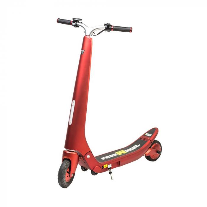 Trotineta electrica Freewheel Rider Trends Rosu, Roata fata 8 inch, Autonomie 30KM, Baterie LG, Viteza 25 KM/h, Motor 250W Brushless, Conctare Bluetooth, Difuzor 3W, Afisaj Electronic, Greutate maxima 2