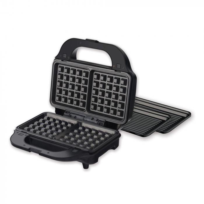 Sandwich maker Heinner SM-2H900BKS, 900 W, placi XL, 2 placi detasabile antiadezive: waffle, grill, Negru/Rosu 1