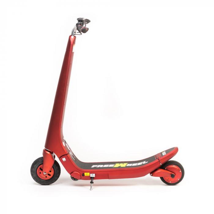 Trotineta electrica Freewheel Rider Trends Rosu, Roata fata 8 inch, Autonomie 30KM, Baterie LG, Viteza 25 KM/h, Motor 250W Brushless, Conctare Bluetooth, Difuzor 3W, Afisaj Electronic, Greutate maxima 4
