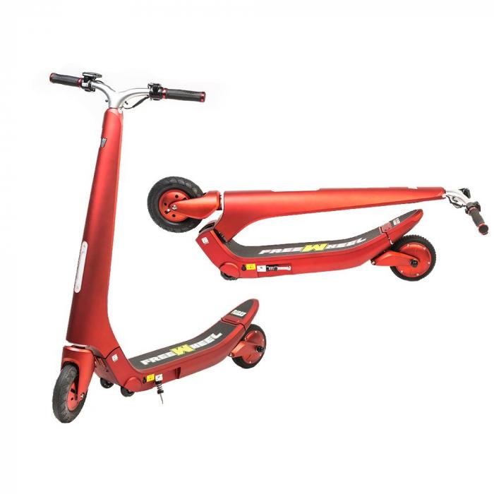 Trotineta electrica Freewheel Rider Trends Rosu, Roata fata 8 inch, Autonomie 30KM, Baterie LG, Viteza 25 KM/h, Motor 250W Brushless, Conctare Bluetooth, Difuzor 3W, Afisaj Electronic, Greutate maxima 0