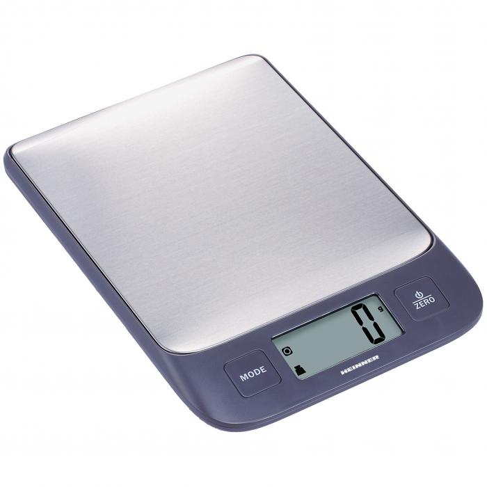 Cantar de bucatarie Heinner HKS-5IXBK, 5 Kg, 1g, tara, functie cantarire lichide, display LCD, Inox 0