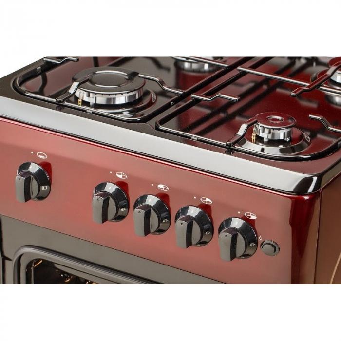 Aragaz LDK 5060 A BORDO RMV, Gaz, 4 arzatoare, Capac metalic, Siguranta, Aprindere electrica, 50x60 cm, Rosu inchis, Preinstalare duze NG/LPG 3