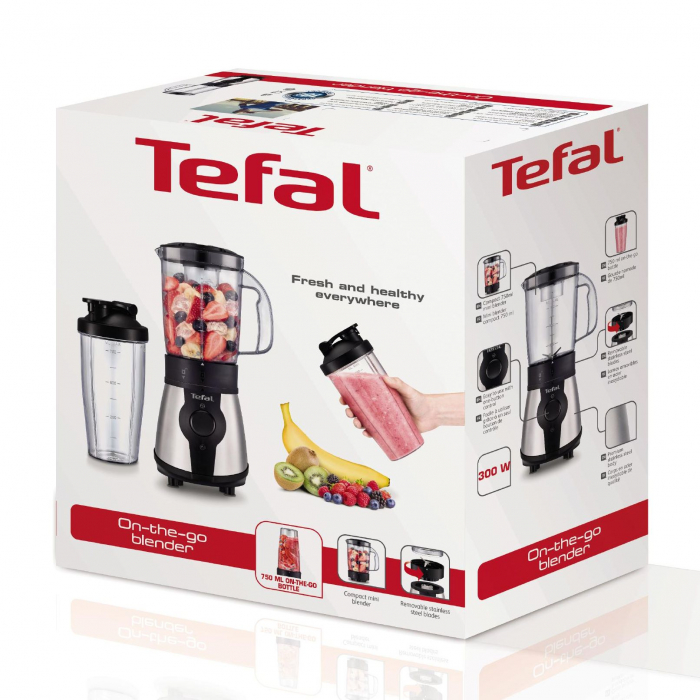 Blender Tefal On to Go BL1B1D39, 300W, recipient 1.3L, recipient 0.75L, 4 lame, Inox 1