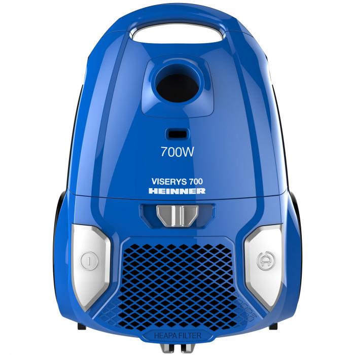 Aspirator cu sac Heinner HVC-MBL1400-V2, 700 W, sac textil, 3 L, putere variabila, HEPA 12, tub telescopic metalic, Albastru 0