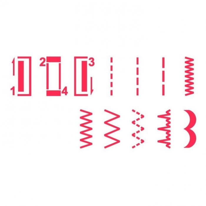 Masina de cusut Minerva Max10M, 10 programe, 800 imp/min, Alb/Rosu 2
