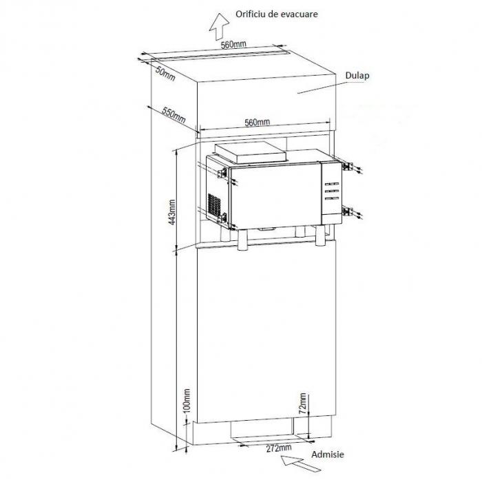 Cuptor cu microunde incorporabil HEINNER HMW-23BI, 23 l, 800 W, Digital, Grill, Inox + Kit instalare 1