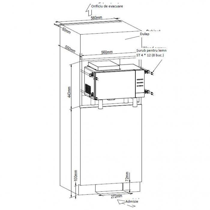 Cuptor cu microunde incorporabil Heinner HMW-23BI-BK, 23 l, 800 W, Digital, Timer, Grill, Sticla neagra 1