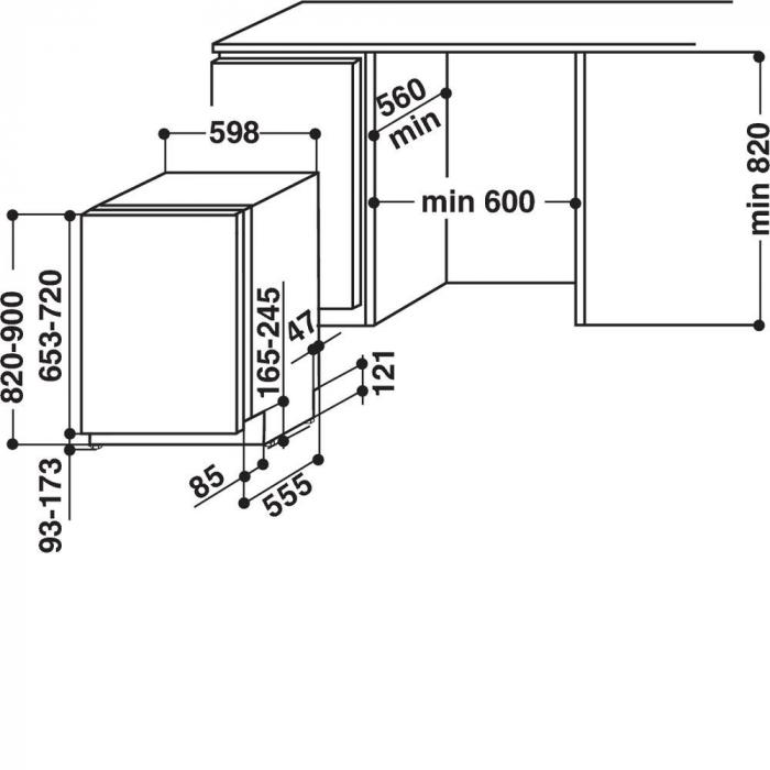 Masina de spalat vase incorporabila Whirlpool WIE 2B19, 6 programe, 13 seturi, Clasa A+, 60 cm 5
