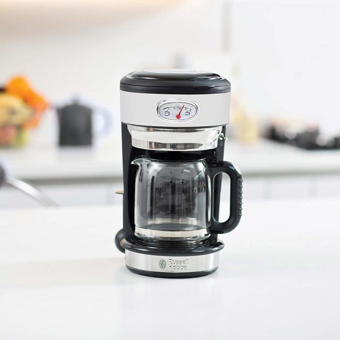 Cafetiera Russell Hobbs Retro Classic Blanc 21703-56, 1000 W, 1,25 l, Tehnologie avansata cu dus, Functie pause and pour, Mentinere la cald, Alb/Inox 1
