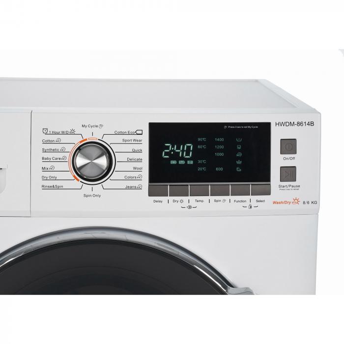 Masina de spalat rufe cu uscator Heinner HWDM-8614B, Spalare 8 kg, Uscare 6 kg 1400 RPM, Clasa B, Display LCD, 60 cm, Alb 5