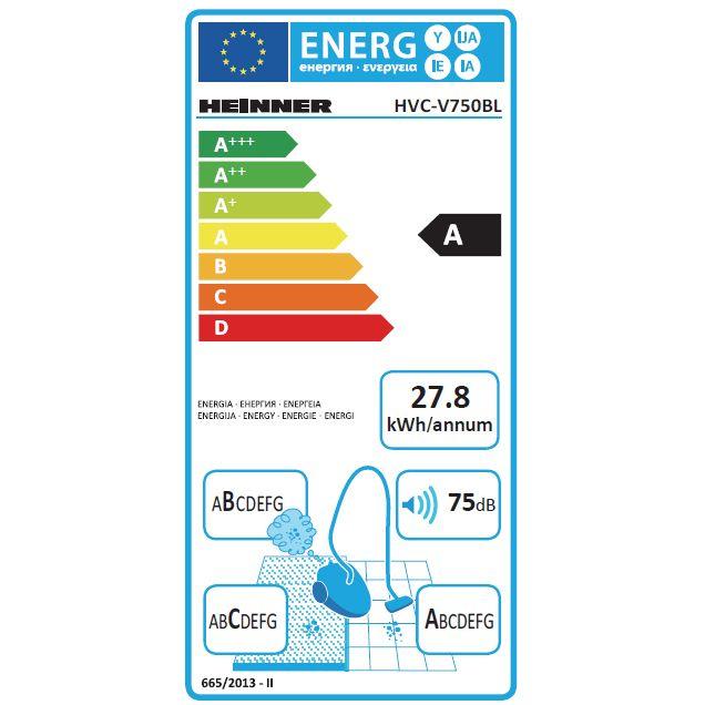 Aspirator fara sac Heinner HVC-V750BL, 750W, recipient praf din plastic 2.2L, filtrare ciclonica, filtru HEPA dublu 13, Blue / Champagne 4