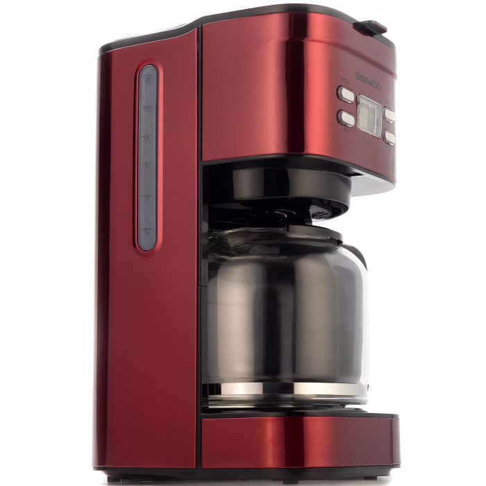 Cafetiera Daewoo DCM1000R, 1000 W, 1.5 l, Filtru permanent, Timer 24 ore, Indicator nivel apa, Design ergonomic, Rosu/Negru [1]