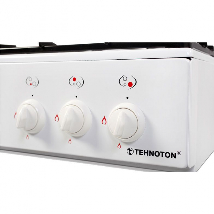 Aragaz Tehnoton Mini Flame 3S, 3 arzatoare, Alimentare gaz,Siguranta, Alb