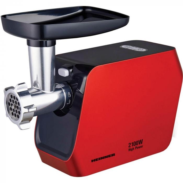 Masina de tocat Heinner MG-2100RD, 2100W, Accesoriu rosii, Accesoriu carnati, Cutit inox, Rosu 0