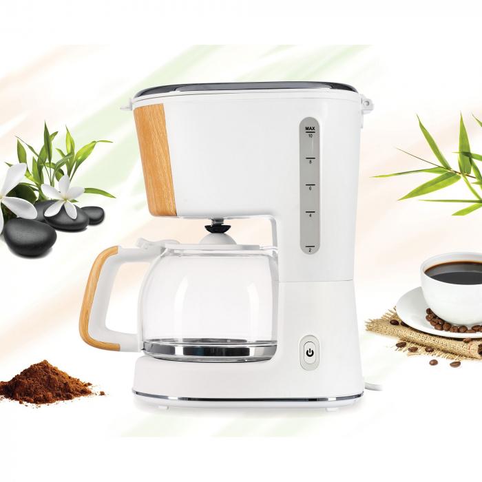 Cafetiera Heinner HCM-WH900BB, 900 W, 1.25 L, filtru detasabil, anti-picurare, oprire automata, Alb 3