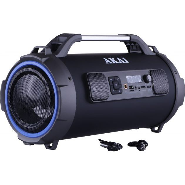 Boxa portabila cu trei difuzoare bazooka AKAI ABTS-13K cu BT , USB, Micro SD card , FM Radio , Aux-in 3.5mm ,Functie Karaoke ,Baterie reincarcabila, Lumini Led , Maner aluminiu 1