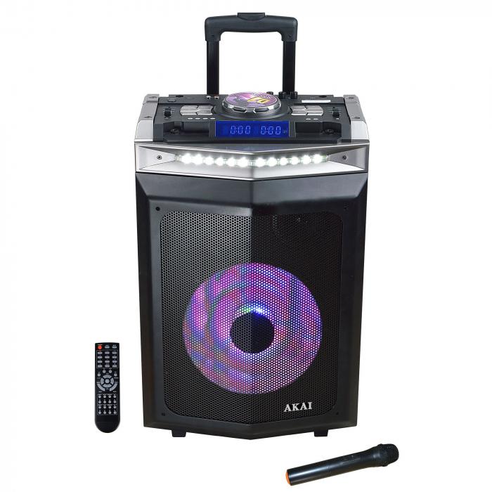 Boxa activa portabila AKAI DJ-6112BT cu DJ mixer, Bluetooth, dual USB, radio, microfon wireless, telecomanda si mufa intrare chitara, 120W 0