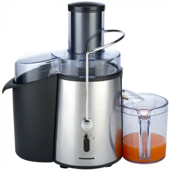 Storcator de fructe si legume Heinner XF-1000SS, 1000 W, Recipient suc 1 l, Recipient pulpa 2 l, 2 Viteze, Tub de alimentare 75 mm, Inox 1