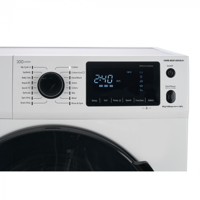 Masina de spalat rufe Heinner HWM-M0914INVA3+,9 kg, 1400 RPM, Clasa A+++, Motor Inverter, Display LED, Alb 3
