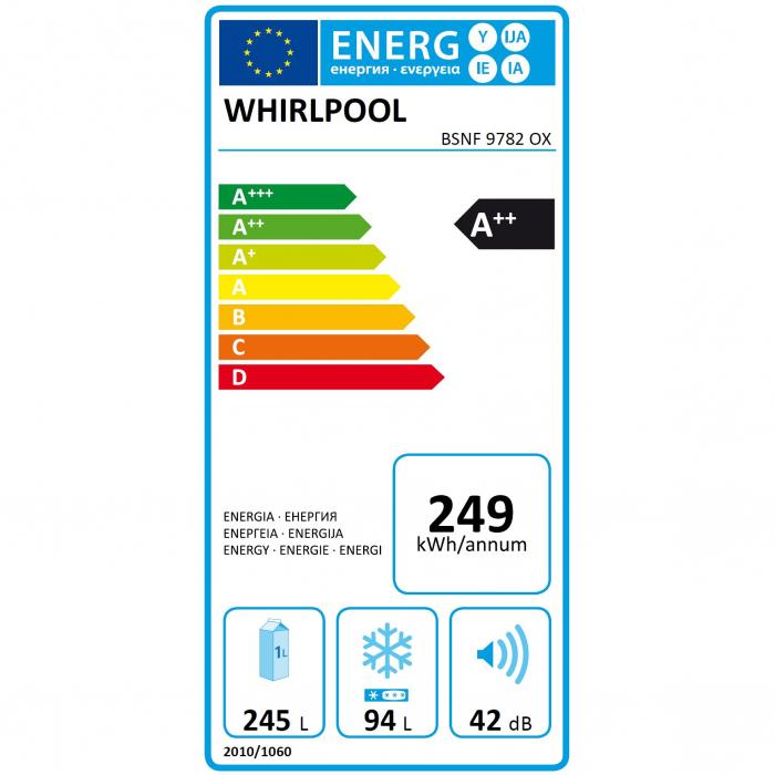 Combina frigorifica Whirlpool BSNF 9782 OX, 339 l, Clasa A++, Full No Frost, 6th Sense, H 201 cm, Inox 2
