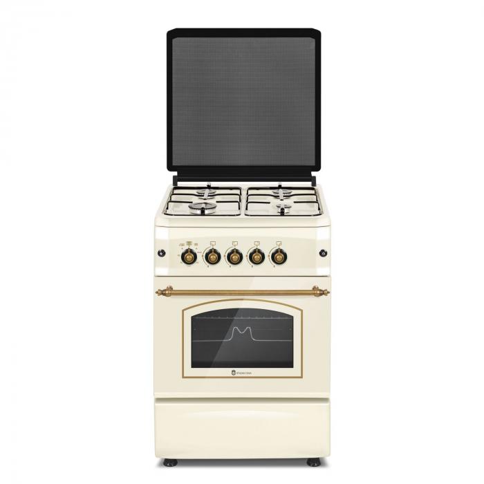 Aragaz rustic Studio Casa CREMONA FE50/55G , Cuptor gaz, 4 arzatoare gaz, Grill gaz, Aprindere electrica 0