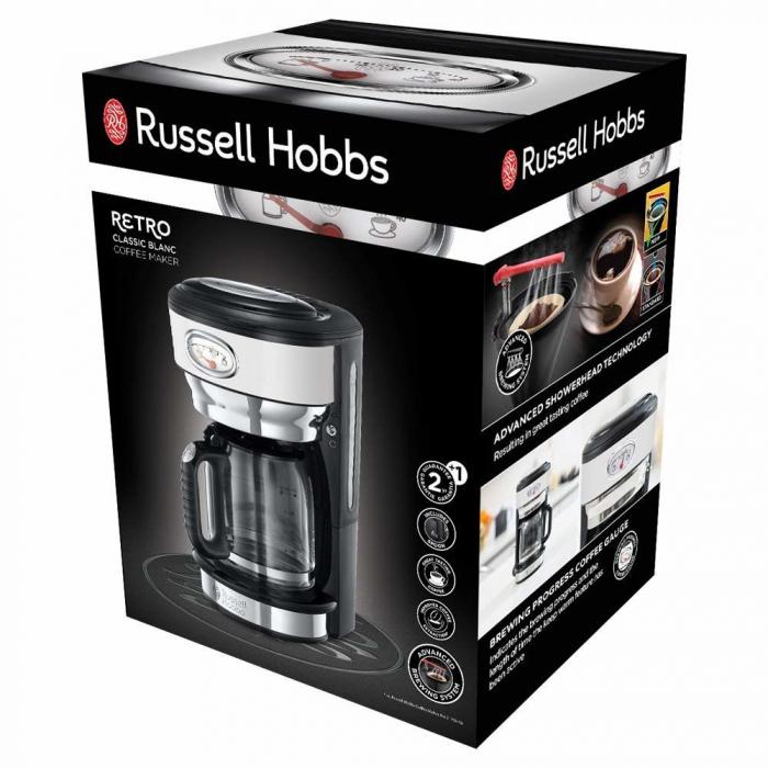 Cafetiera Russell Hobbs Retro Classic Blanc 21703-56, 1000 W, 1,25 l, Tehnologie avansata cu dus, Functie pause and pour, Mentinere la cald, Alb/Inox 5