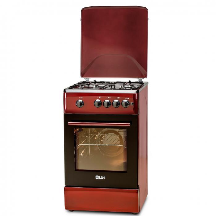 Aragaz LDK 5060 A BORDO RMV, Gaz, 4 arzatoare, Capac metalic, Siguranta, Aprindere electrica, 50x60 cm, Rosu inchis, Preinstalare duze NG/LPG 1