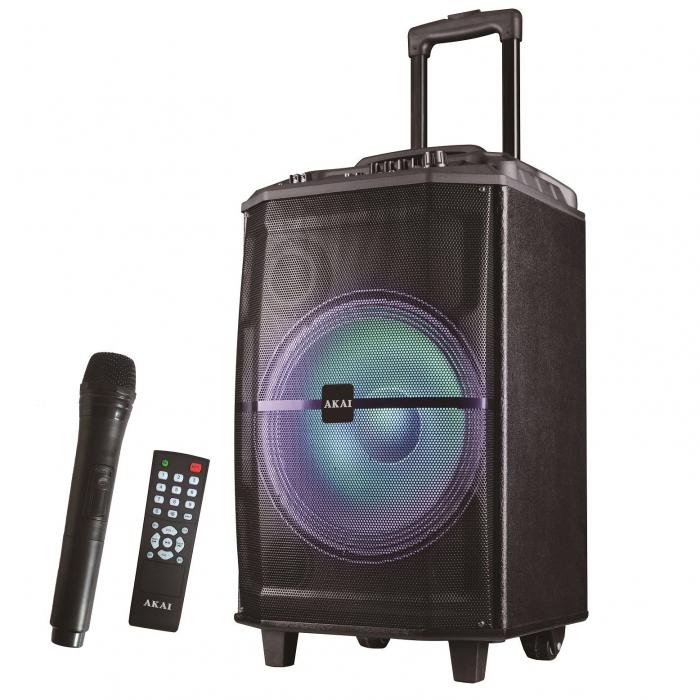 Boxa portabila Akai ABTS-H12L, 40W, microfon wireless, Bluetooth, radio FM, karaoke, USB, lumini disco 2