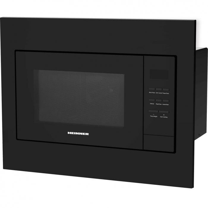 Cuptor cu microunde incorporabil Heinner HMW-23BI-BK, 23 l, 800 W, Digital, Timer, Grill, Sticla neagra 0