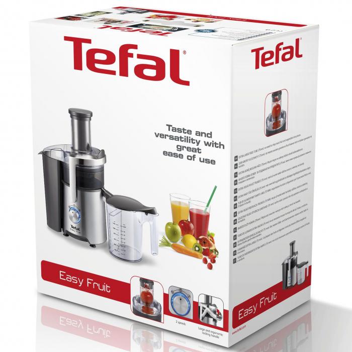 Storcator de fructe Tefal Easy Fruit ZE610D38, 800W, 2 viteze, Recipient pulpa 2l, Recipient suc 1.2l, Inox / Negru 1