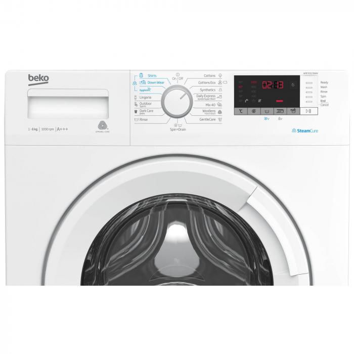 Masina de spalat rufe Slim Beko WRE6512BWW, 6 kg, 1000 RPM, Clasa A+++, Display LED, Alb 4