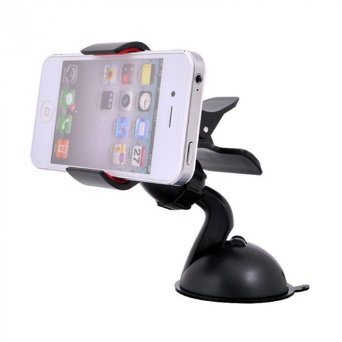 Suport auto Procell Clips 360 pentru telefoane si tablete, Negru 1