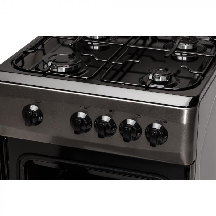 Aragaz LDK 5060 Shiny Grey RMV, 4 Arzatoare, Capac metalic, Siguranta, Geam dublu cuptor 50x60 cm, 4 ani garantie, Gri,LPG [3]