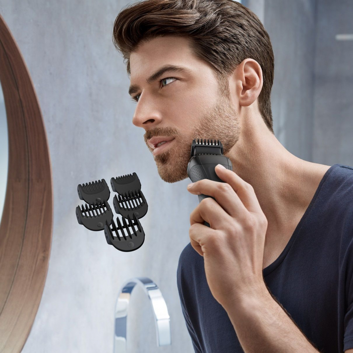 Aparat de ras electric Braun 3000BT Shave&Style 3-in-1, Trimmer, 5 accesorii de tuns, Gri