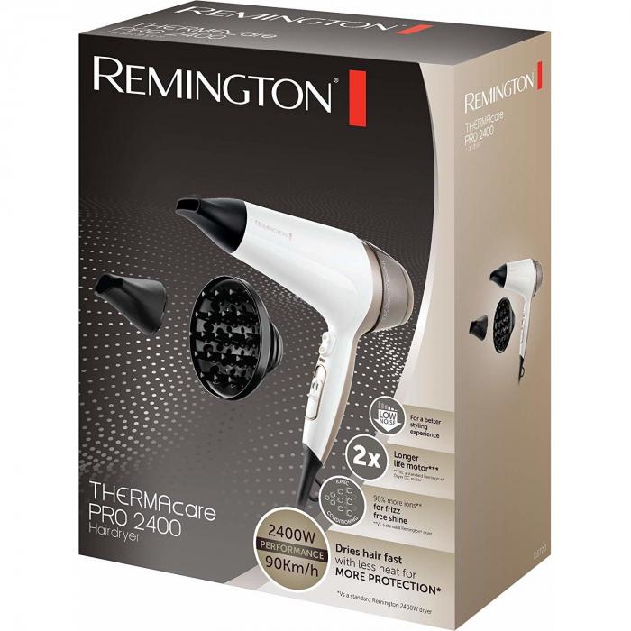 Uscator de par Remington Thermacare Pro 2400 D5720 2200 W, Generator de ioni, 3 trepte de temperatura, 2 viteze, Alb 1